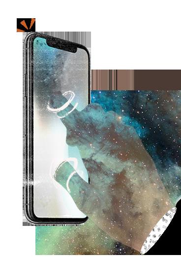 ilustración de mano entrando dentro de un teléfono móvil