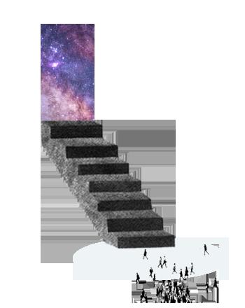 ilustración de gente caminando frente a escalera con puerta al universo